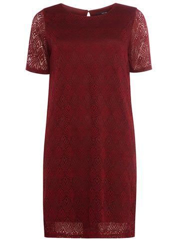 Dorothy Perkins *vero Moda Burgundy Lace Shift Dress