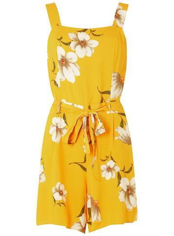 Dorothy Perkins Yellow Floral Square Neck Playsuit