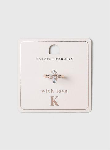 Dorothy Perkins Rose Gold Initial K Ring