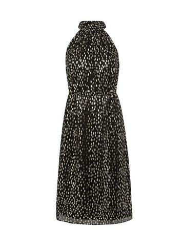Dorothy Perkins Petite Black Foil Halterneck Dress