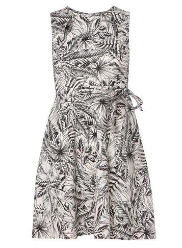 Dorothy Perkins Petite Pink Palm Print Fit And Flare Dress