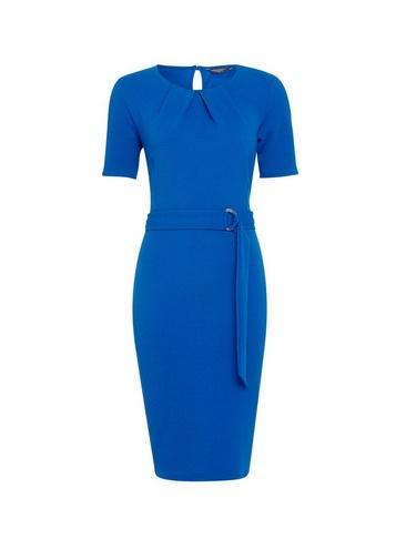 Dorothy Perkins Blue Pleat Neck D-ring Pencil Dress