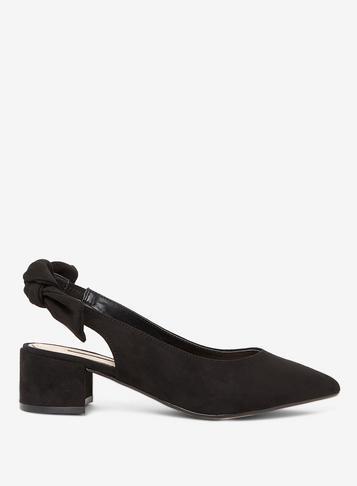 Dorothy Perkins Black Gossip Bow Slingback Court Shoes
