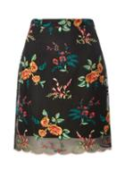 Dorothy Perkins Black Embroidered Aline Skirt