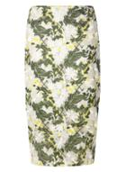 Dorothy Perkins Green Floral Embroidered Pencil Skirt