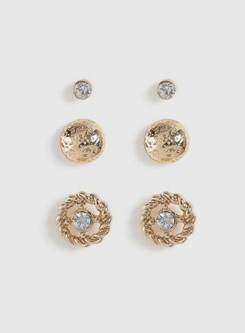 Dorothy Perkins Multipack Gold Rhinestone Earrings
