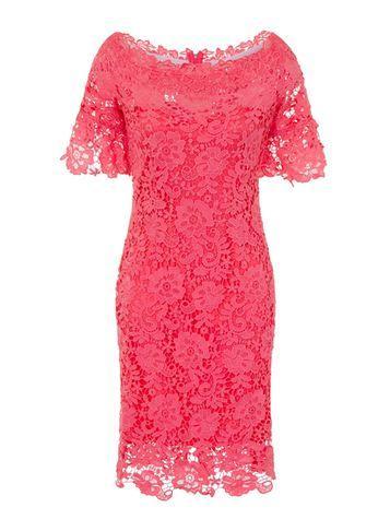 Dorothy Perkins *paper Dolls Coral Lace Bardot Bodycon Dress