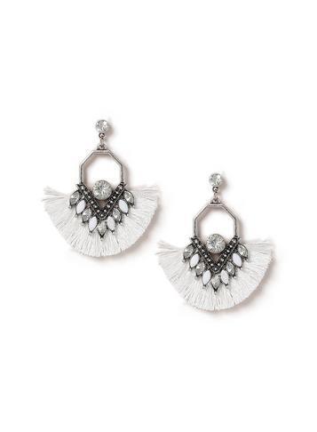 Dorothy Perkins White Tassel Fan Earrings