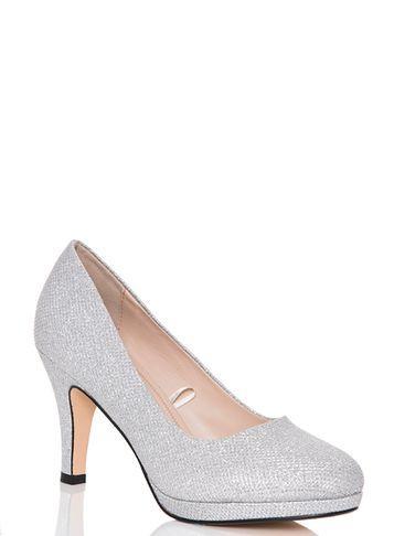 Dorothy Perkins *quiz Silver Glitter Mid Heel Court Shoes
