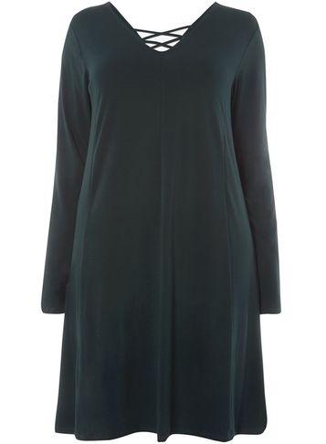 Dorothy Perkins *juna Rose Curve Green Cross Back Swing Dress