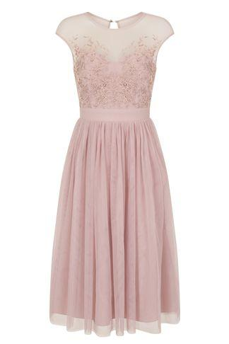 Dorothy Perkins *little Mistress Pink Cap Sleeve Mesh Skater Dress