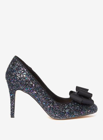 Dorothy Perkins Navy Glitter 'glam' Bow Court Shoes