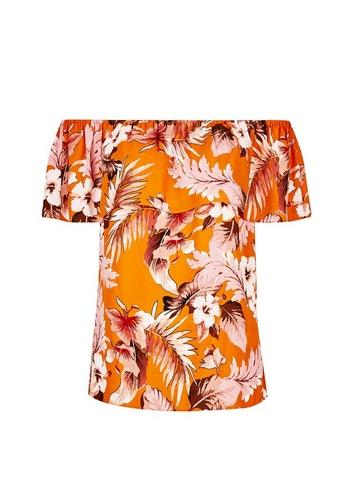 Dorothy Perkins Orange Tropical Print Tie Bardot Top