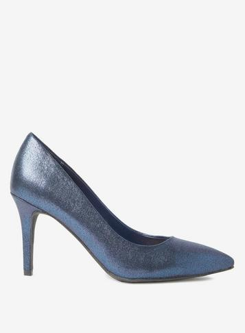 Dorothy Perkins Blue Textured Enzo Court Shoes