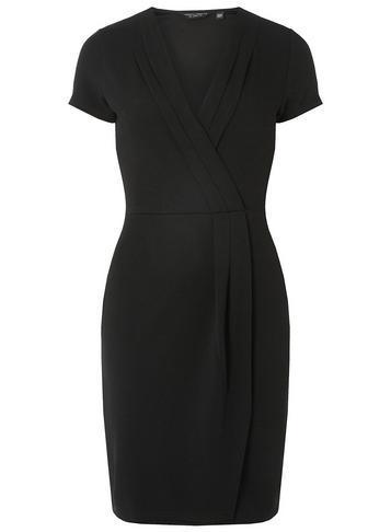 Dorothy Perkins Black Pleat Wrap Pencil Dress