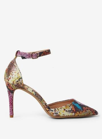 Dorothy Perkins Multi Coloured Pu Demi Snake Print Court Shoes