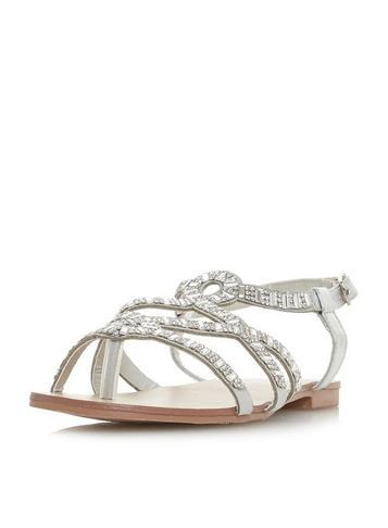 Dorothy Perkins *head Over Heels By Dune Silver Nadia Sandals