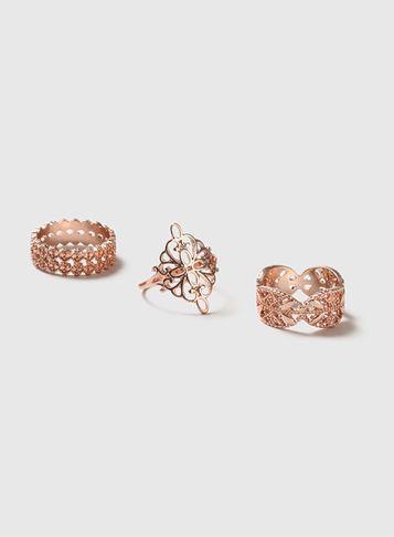 Dorothy Perkins Rose Gold Filigree Ring Pack