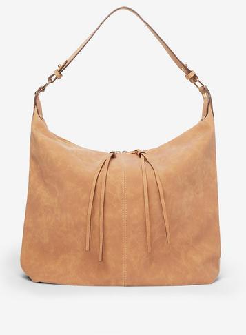 Dorothy Perkins Tan Double Zip Hobo Bag