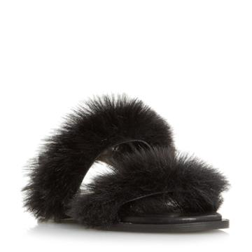 Dune Black Luiisa Fluffy Double Strap Sandal
