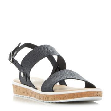 Dune London Logo Cork Sole Flatform Sandal