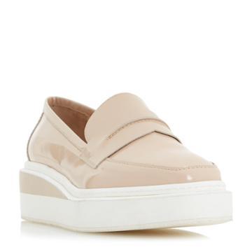 Dune Black Gallon Square Toe Flat Form Loafer