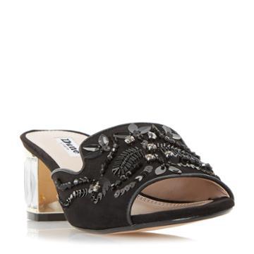 Dune London Meera Slipper Cut Jewelled Mule Sandal