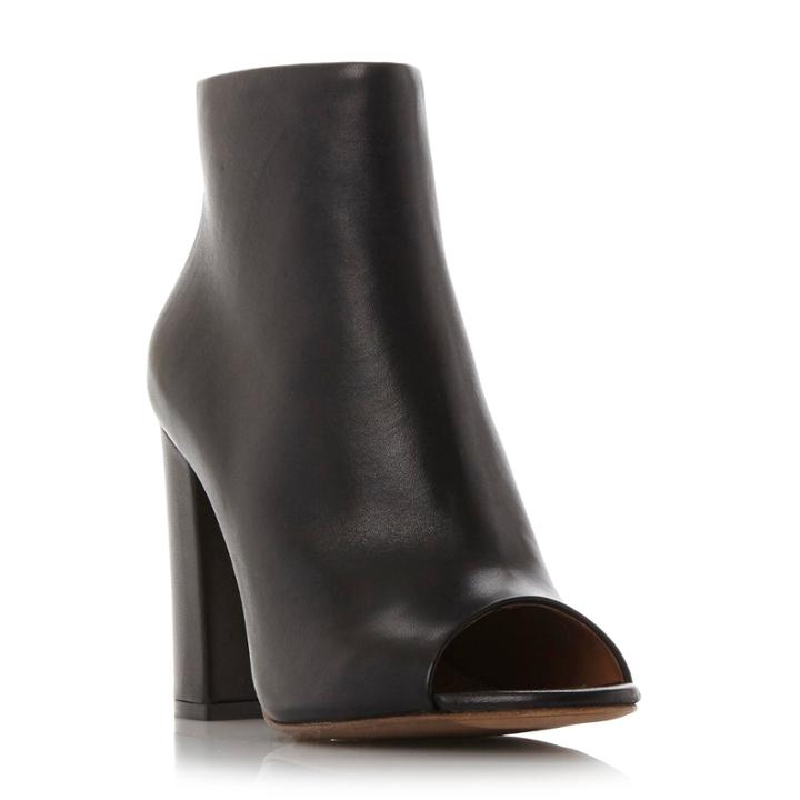 Dune Black Oathe Leather Peep Toe Ankle Boot