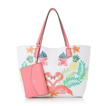 Dune London Dellilah Flamingo Shopper Tote Bag