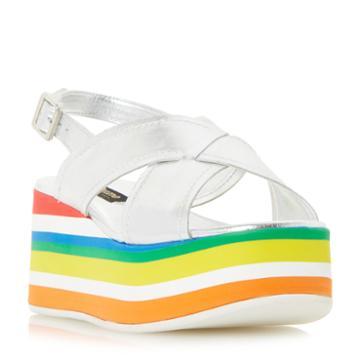 Dune Black Levell Rainbow Stripe Flatform Sandal