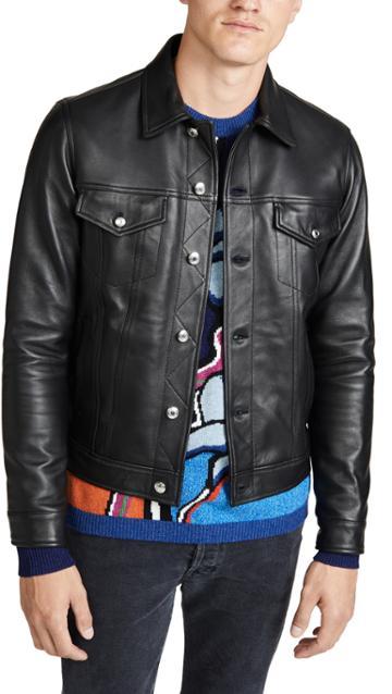 Paul Smith Leather Trucker Jacket