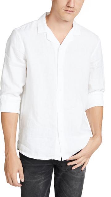Club Monaco Long Sleeve Linen Solid Shirt