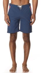 Solid Striped Board Shorts Piped Navy Red