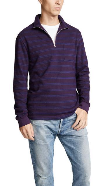 Tres Bien Half Zip Sweatshirt Stripe