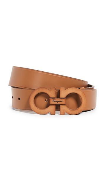 Salvatore Ferragamo Leather Covered Gancini Belt