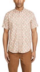 Billy Reid Short Sleeve Marine Plaid Shirt