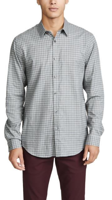 Theory Irving Visby Check Button Down Shirt