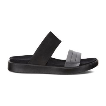 Ecco Flowt W Flat Sandal Size 9-9.5 Black Dark Shadow Metallic