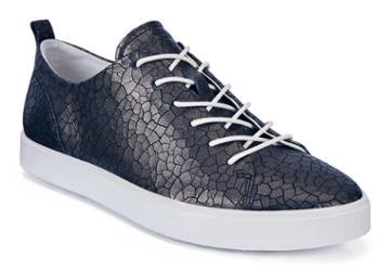 Ecco Gillian Shoe Sneakers Size 5-5.5 Black Dark Shadow Metallic