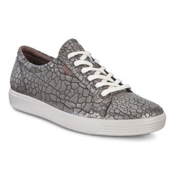 Ecco Womens Soft 7 Sneaker Size 5-5.5 Black Stone Metallic