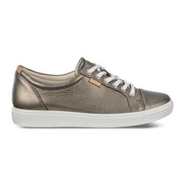 Ecco Womens Soft 7 Sneaker Size 6-6.5 Black Stone Metallic