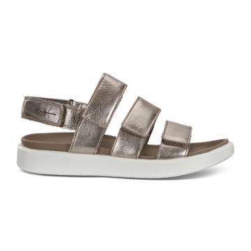Ecco Flowt W Flat Sandal Size 8-8.5 Warm Grey Metallic