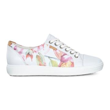 Ecco Womens Soft 7 Sneaker Size 6-6.5 White Floral Print