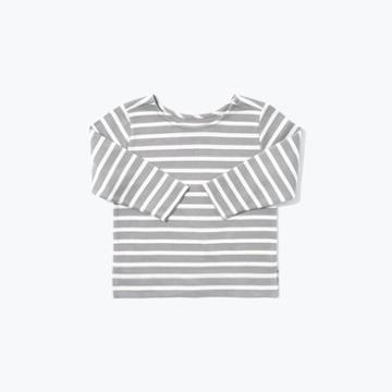 The Everlane Mini Striped Longsleeve Tee - Cream Stripe