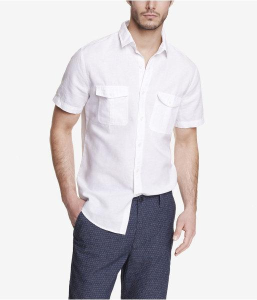 Express Mens Short Sleeve Linen-cotton Shirt White