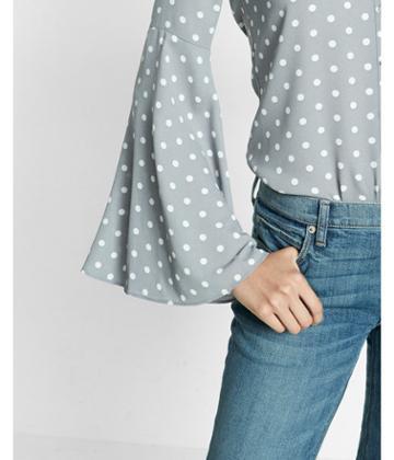 Express Slim Fit Dot Print Flare Sleeve Portofino