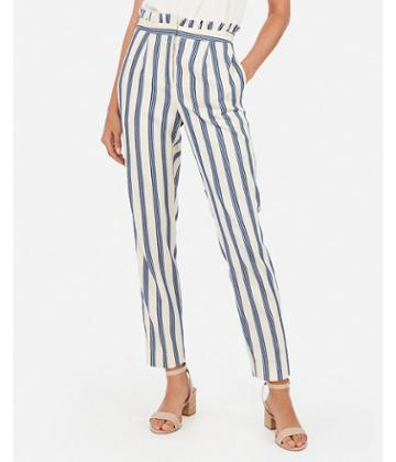 Express Womens Striped High Waisted Ruffle Top Ankle Pant