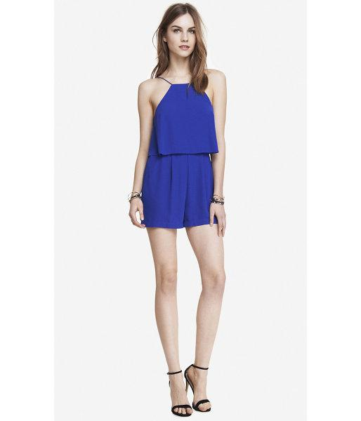 Express Express Womens Double Layer Cami Romper - Blue