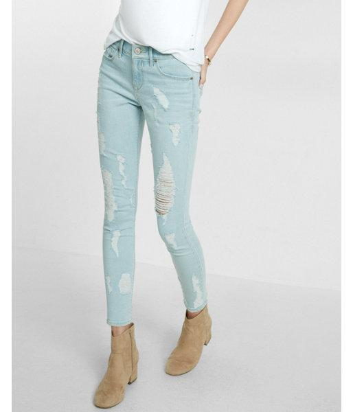 Express Womens Mid Rise Distressed Jean Ankle