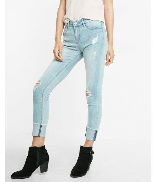 Express Mid Rise Distressed Cropped Jean